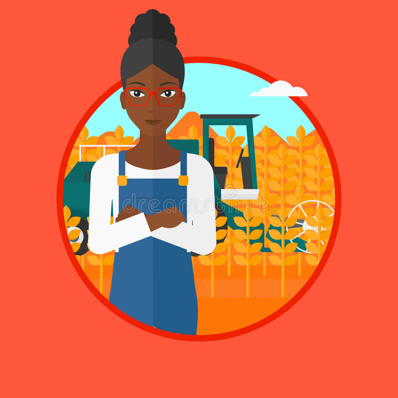 Woman standing with combine on background. An african-american young satisfied farmer standing on the background of combine working in wheat field. Combine vector illustration