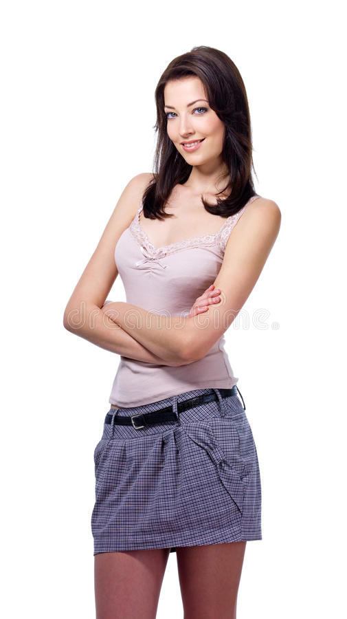 Woman Standing With Crossed Arms Stock Photo