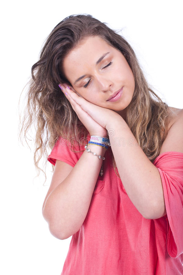 Woman Standing And Feeling Sleepy Royalty Free Stock Images