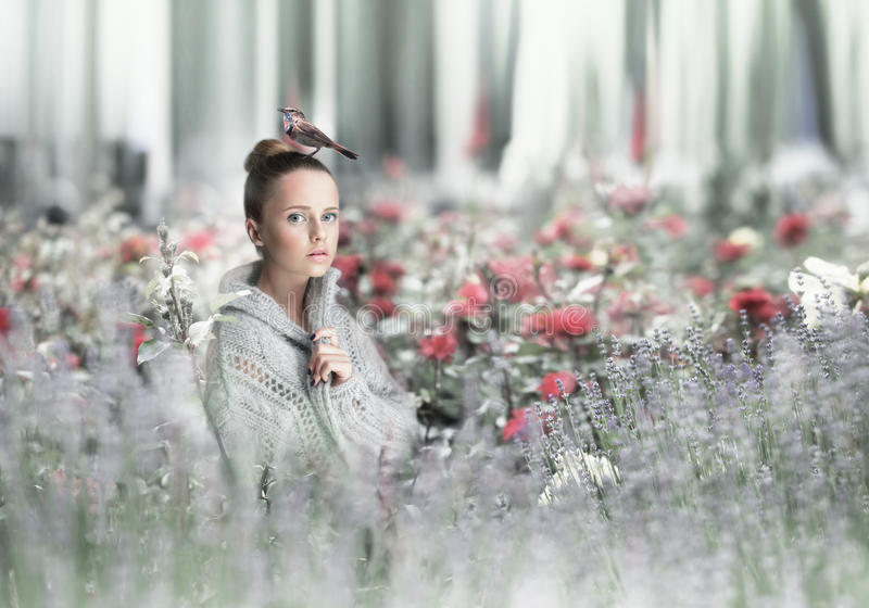 A woman standing in a field. stock photography