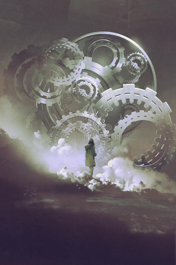 Woman standing in front of big gears and cogs stock illustration