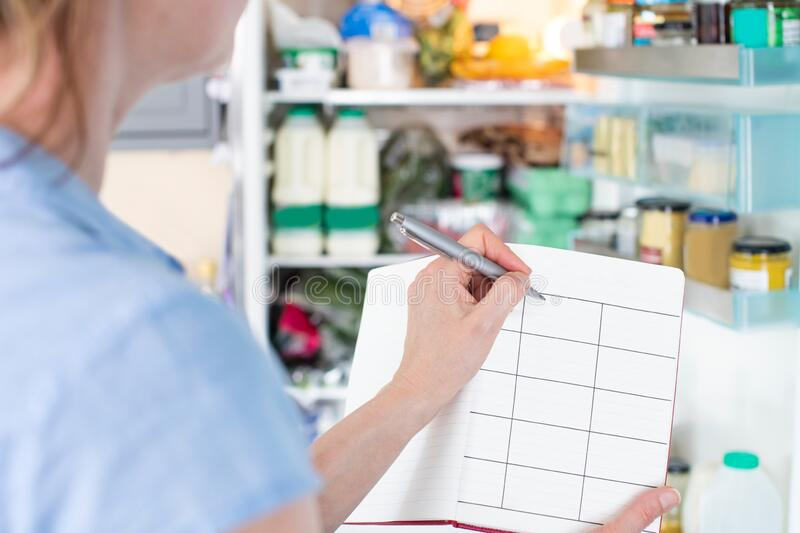 Woman Standing In Front Of Refrigerator In Kitchen With Notebook Writing Weekly Meal Plan. Woman Stands In Front Of Refrigerator In Kitchen With Notebook Writing stock images