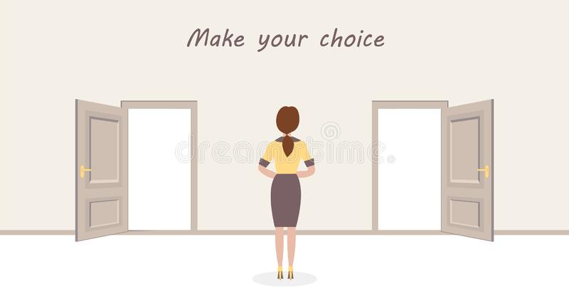A woman is standing in front of two doors and having a choice. Sign: Make your choice. Vector design illustrations royalty free illustration