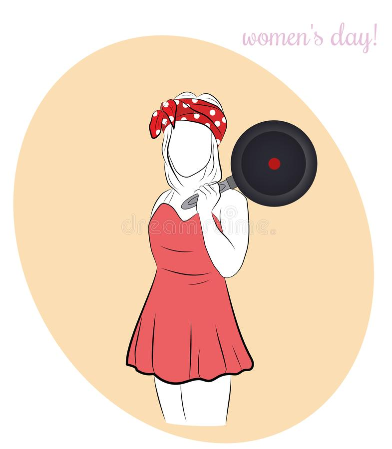 A woman is standing with a frying pan. women`s Day. vector illustration. A woman is standing with a frying pan. women`s Day. vector illustration vector illustration