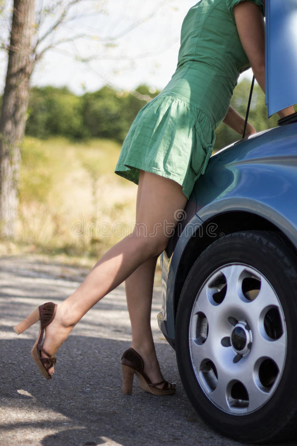 Download Woman Standing By Her Broken Car Stock Image - Image: 26594535