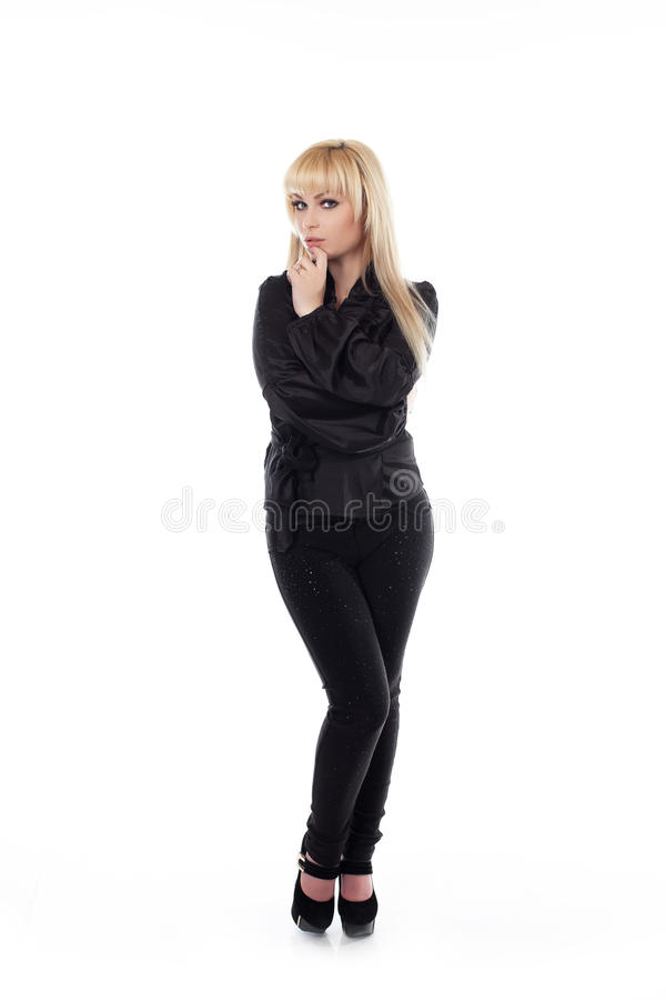 Woman standing isolated on white stock photos