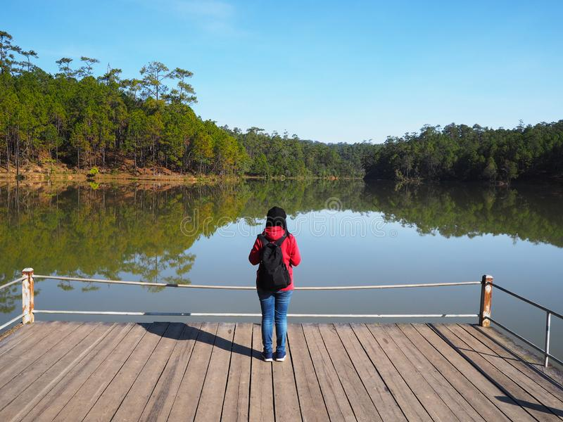 Woman standing at lake side and looking at green forest stock images