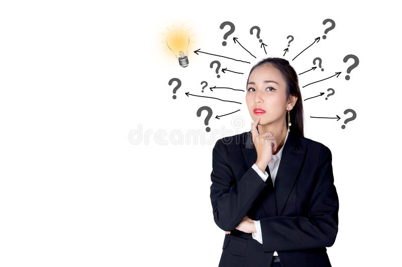 Woman is standing with a light bulb and question marks isolated stock photos