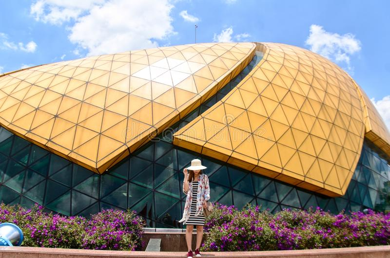 Woman Standing Near Dome Building stock image