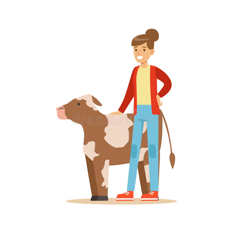 Free Woman Standing Next To Cow Calf, Farmer Working At The Farm And Selling On Natural Organic Product Market Royalty Free Stock Photography - 84341037