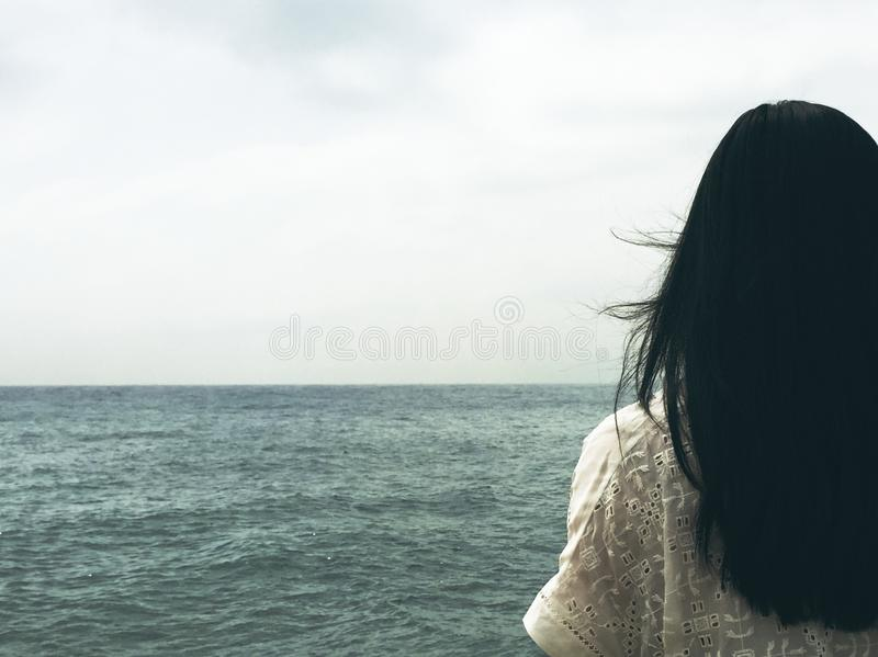 Woman Standing By Ocean Free Public Domain Cc0 Image