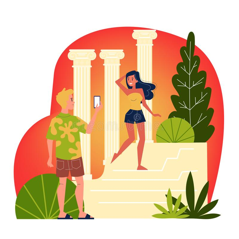 Woman standing and posing for a photo. Woman standing and posing for photo at the famous tourist attraction. Summer vacation and journey. Isolated vector royalty free illustration
