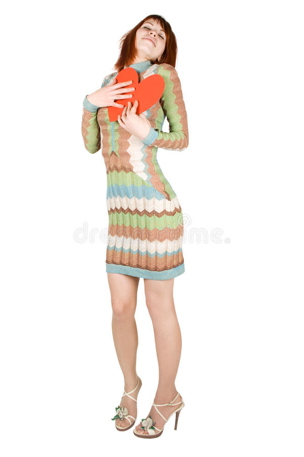Download Woman Standing And Pressing Red Heart To Bosom Stock Image - Image: 17829331