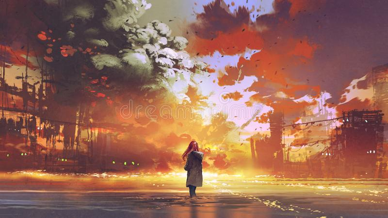 Woman looking at the burning city stock illustration