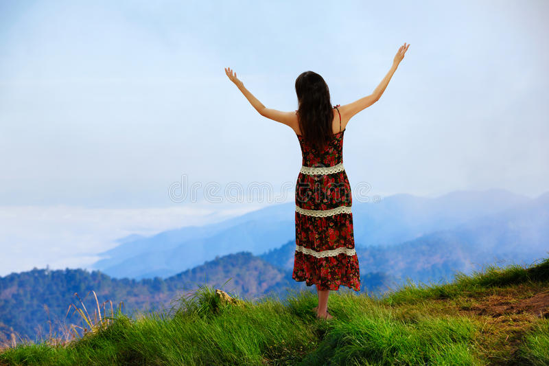 Download Woman Is Standing On Top Of The Mountain Stock Image - Image: 31197155