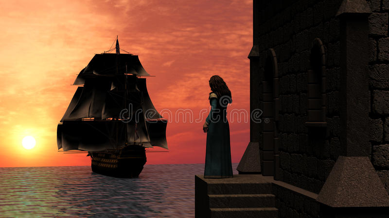 Woman Standing on Tower watching a Sailboat at Sunset stock illustration