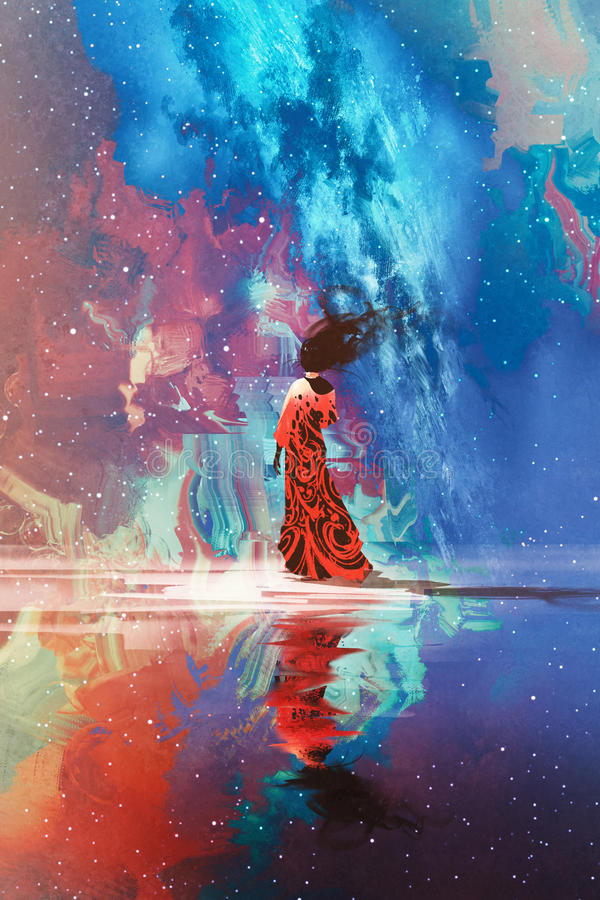 Woman standing on water against Universe filled vector illustration