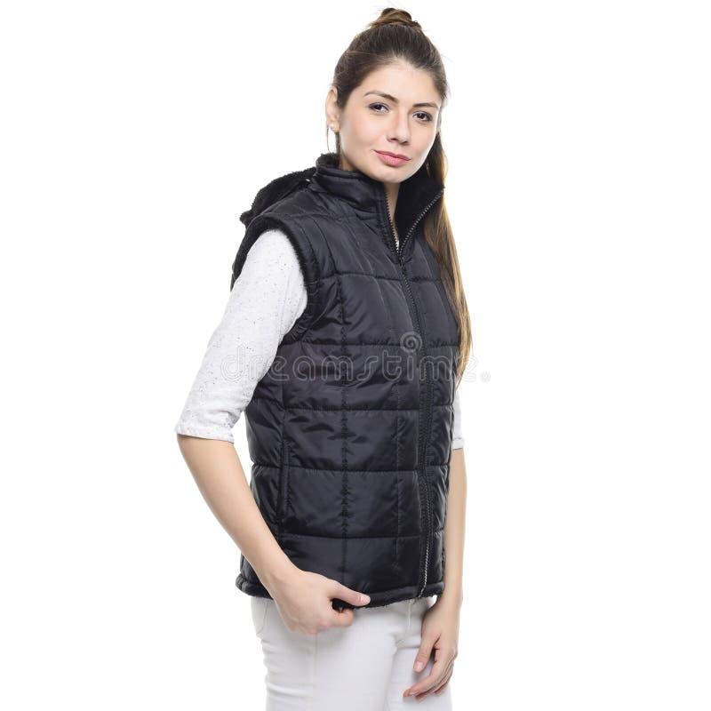 Woman Standing Wearing Black Bubble Zip Turtleneck Vest Free Public Domain Cc0 Image
