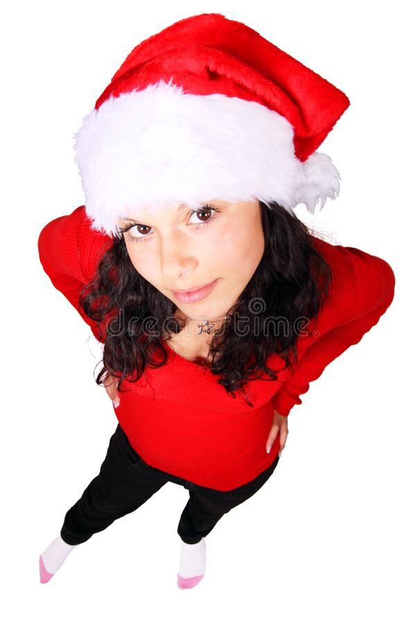 Woman Standing Wearing Red Scoop Neck Long Sleeve Shirt And Santa Cap Free Public Domain Cc0 Image