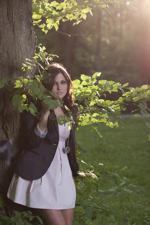Download Woman Standing In Wood On Sunny Day Stock Photography - Image: 24875862