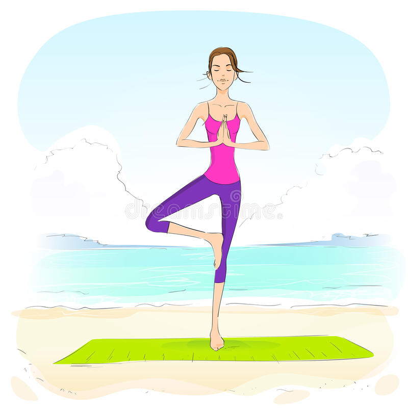 Woman standing in yoga lotus position closed eyes. Relaxing doing exercises vector illustration royalty free illustration
