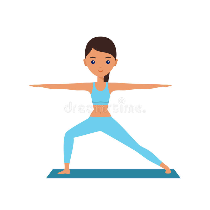 Download Woman Standing In Yoga Pose Warrior Vector Illustration Stock