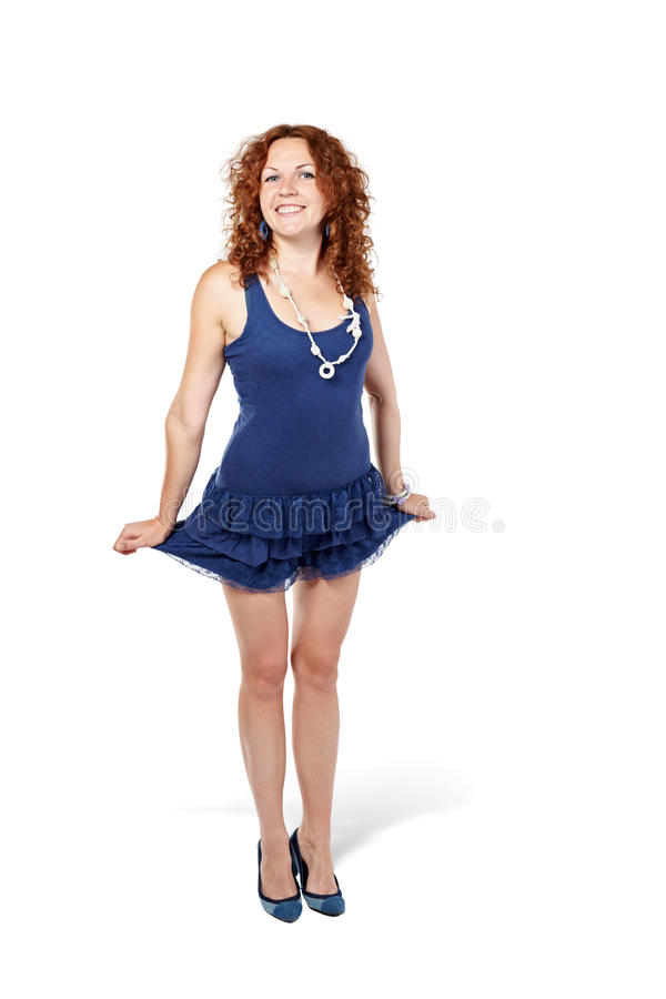 Download Woman Stands, Holding Skirt On Sides Stock Photo - Image: 26281872