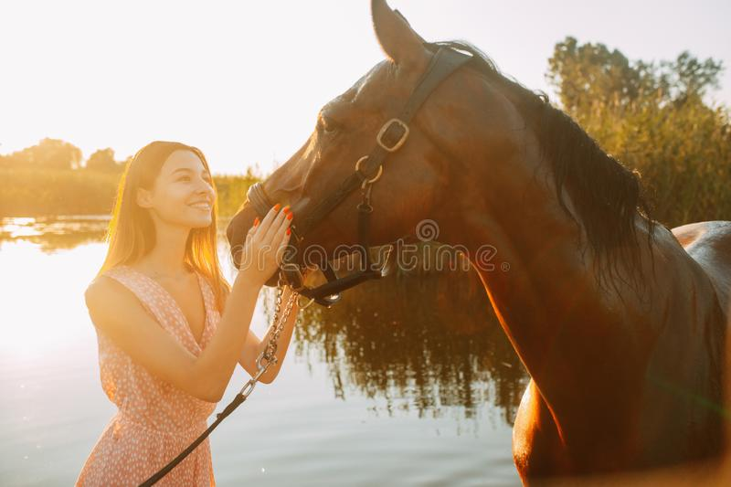 Woman stands next to the horse against background of the river. A young smiling woman stands next to the horse against background of the river at sunset stock image