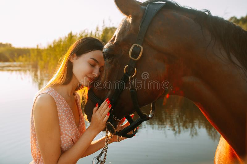 Woman stands next to the horse against background of the river. A young smiling woman stands next to the horse against background of the river at sunset stock photo