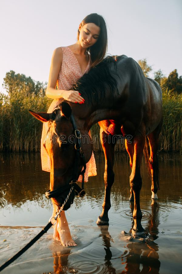 Woman stands next to the horse against background of the river. A young smiling woman stands next to the horse against background of the river at sunset royalty free stock images
