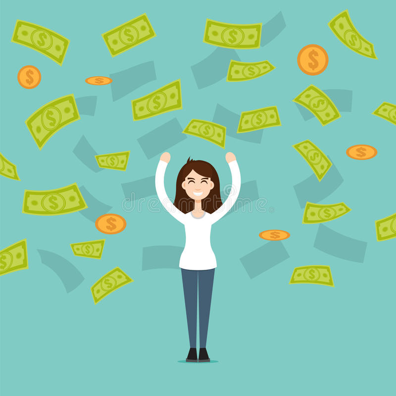 A woman stands in the rain out of money, money rain vector. A woman stands in the rain out of money. Vector illustration royalty free illustration