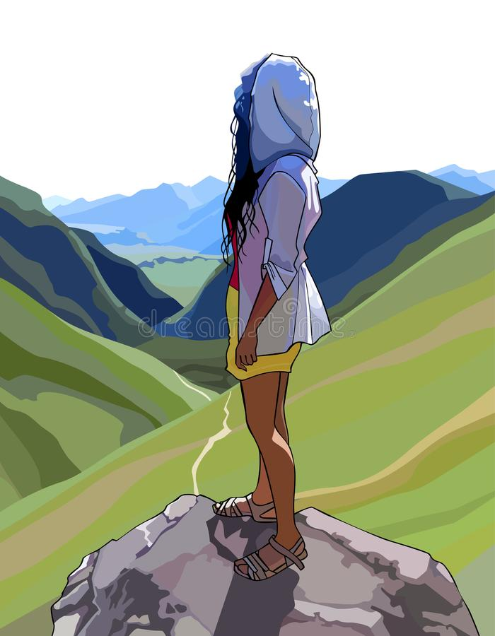 Woman stands on a rock and looks at a mountain valley. Woman stands on a rock and looks at mountain valley stock illustration