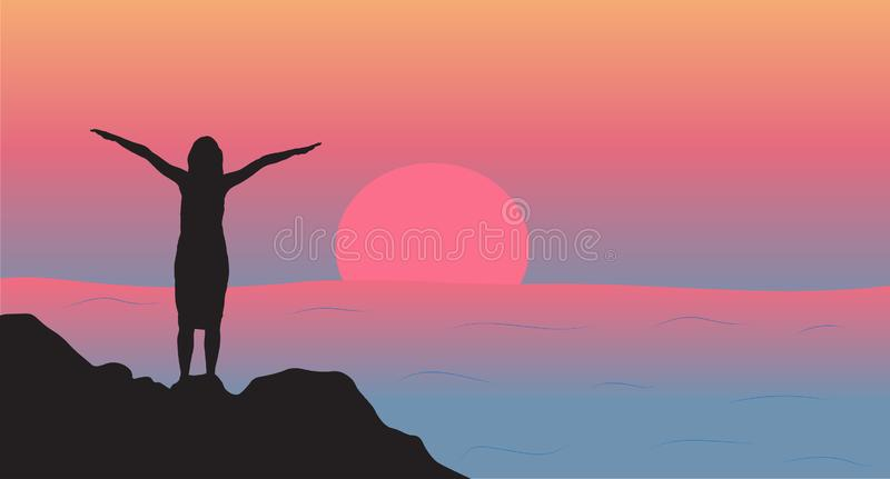 Woman stands on the rocks and enjoy the sunset silhouette. Vector illustration vector illustration