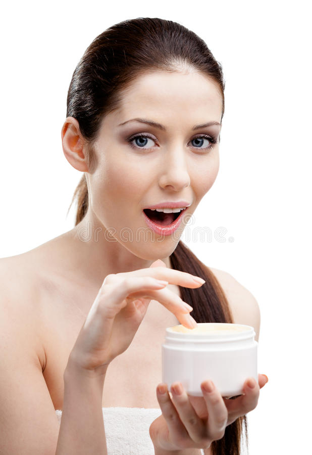 Download Woman Starting To Apply Smoothing Cream Stock Photo - Image: 29528730