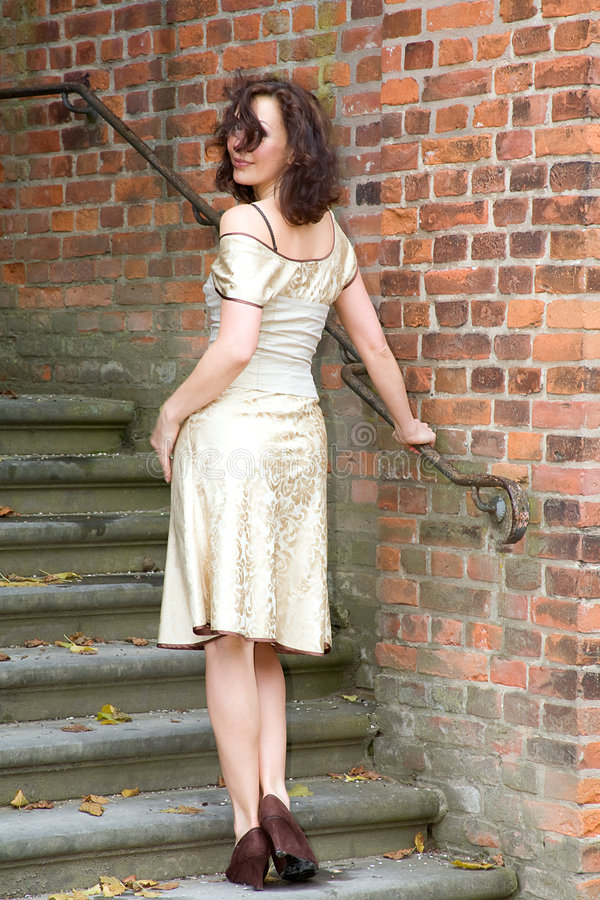 Download Woman on steps stock image. Image of brown, autumn, posing - 4728631