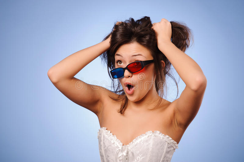 Download Woman with stereo glasses stock photo. Image of media - 24005900