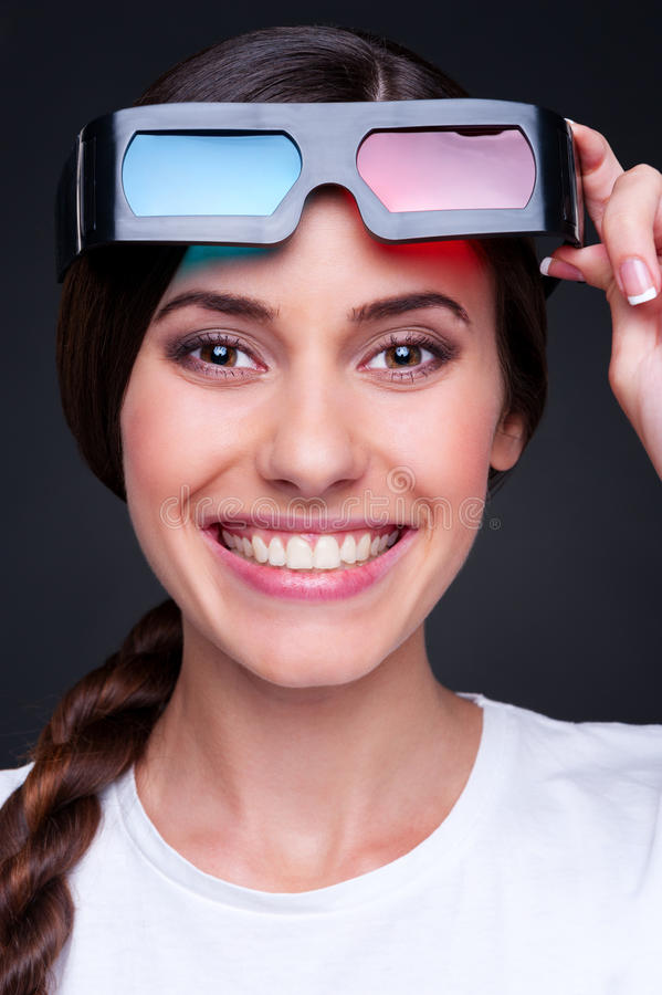 Download Woman with stereo glasses stock photo. Image of effect - 26038172