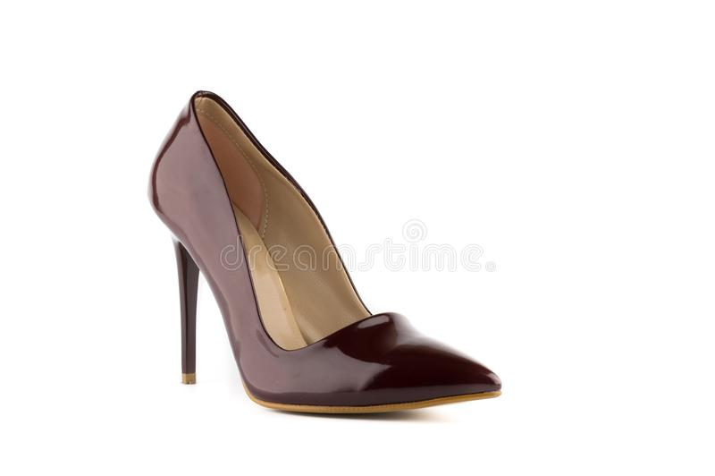 Woman stiletto high heel shoes. Woman stiletto high heel front back cross side shoes stock image