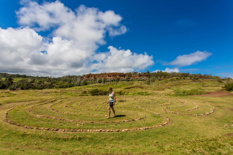 Woman in Stone Circle royalty free stock photography