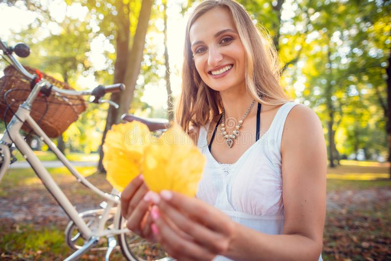Woman stopping her bike to collect beautiful autumn foliage royalty free stock image