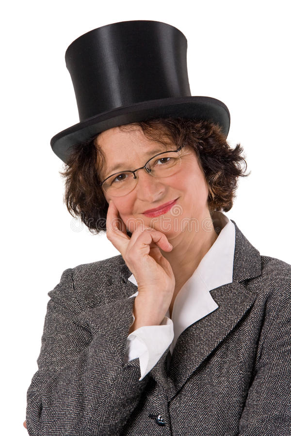 Woman with stovepipe hat royalty free stock images