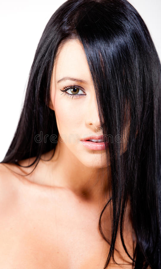Woman with straight black hair