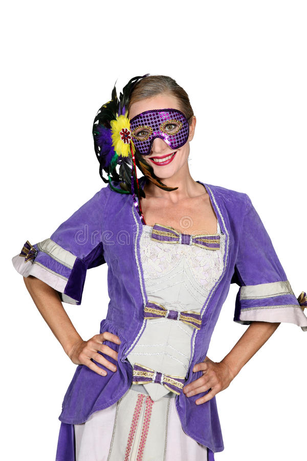 Woman in strange costume royalty free stock images