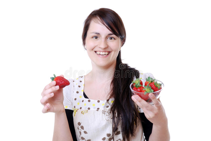 Woman with strawberries stock photos