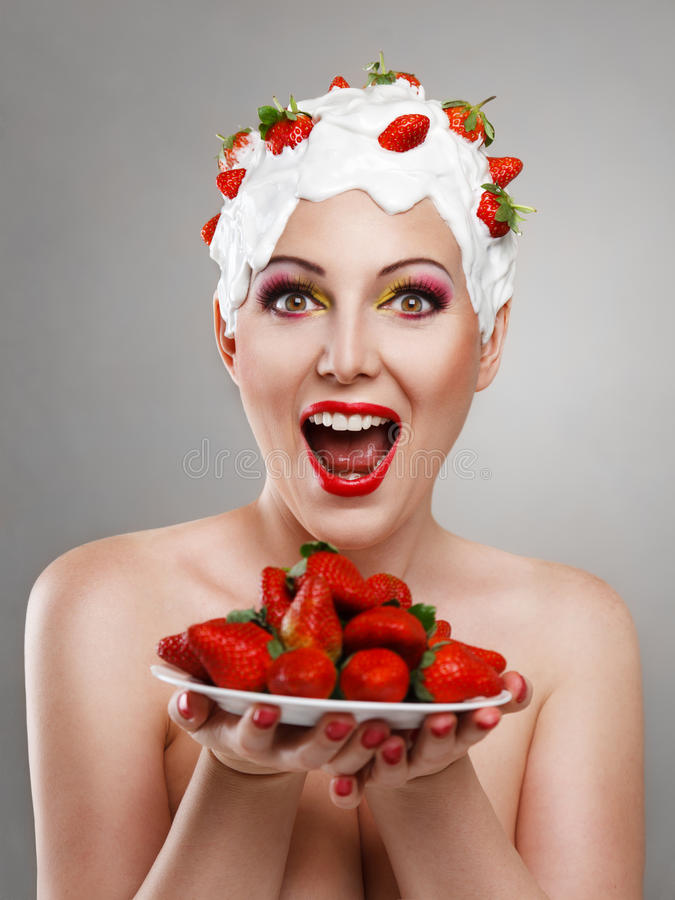 Download Woman with strawberry stock image. Image of lovely, face - 23297369