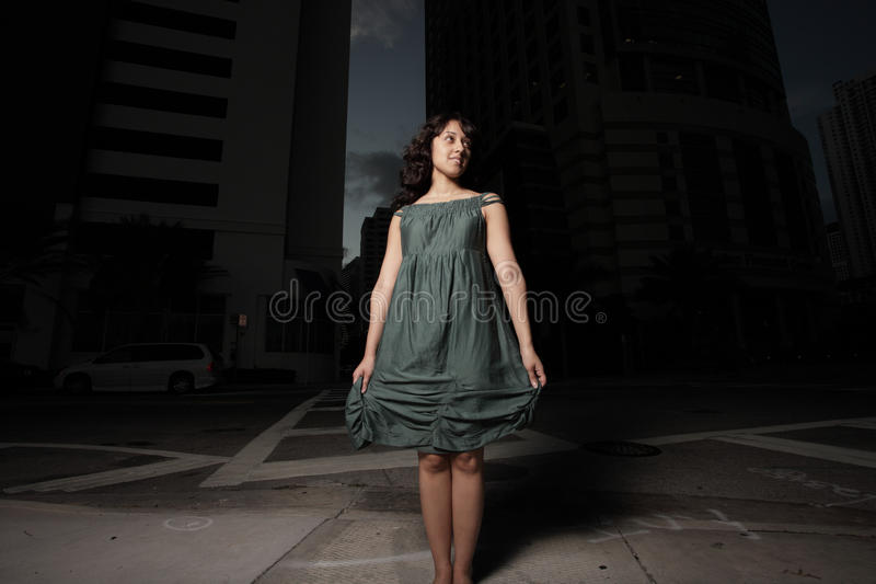 Download Woman On The Street At Night Stock Image - Image of looking, dress: 9480319