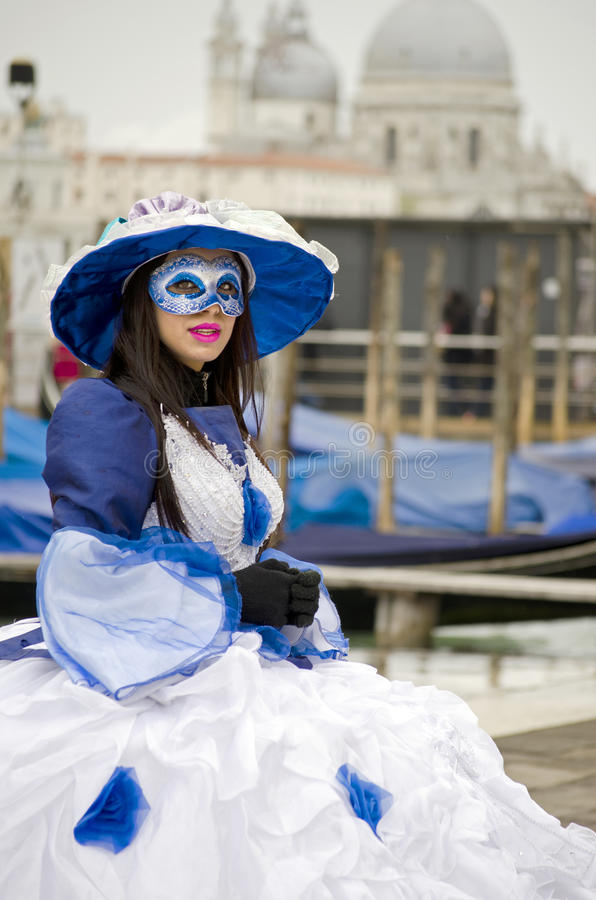 Woman street performer in Venice stock photo