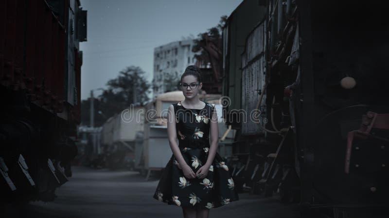 Woman on street stock image