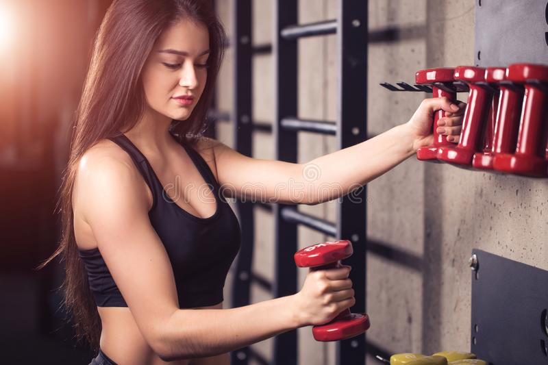 Woman training lifting dumbbell weights getting ready for exercise workout royalty free stock photography