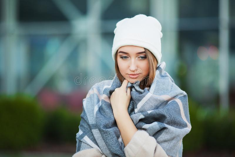 Woman stress. Beautiful sad desperate woman in winter coat suffering depression royalty free stock photos